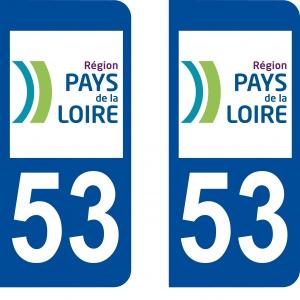 Achat stickers autocollants plaques d'immatriculation Mayenne (53) - Logo autocollant 53