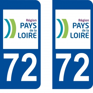 Achat stickers autocollants plaques d'immatriculation Sarthe (72) - Logo autocollant 72
