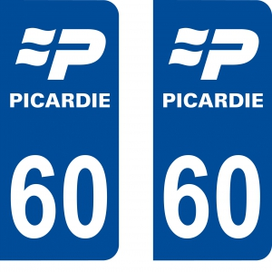Achat stickers autocollants plaques d'immatriculation Oise (60) - Logo autocollant 60