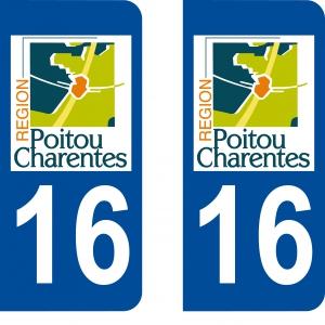 Achat stickers autocollants plaques d'immatriculation Charente (16) - Logo autocollant 16