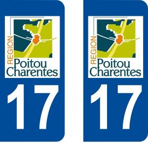 Achat stickers autocollants plaques d'immatriculation Charentr Maritime (17) - Logo autocollant 17