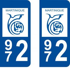 Achat stickers autocollants plaques d'immatriculation Martinique (972) - Logo autocollant 972