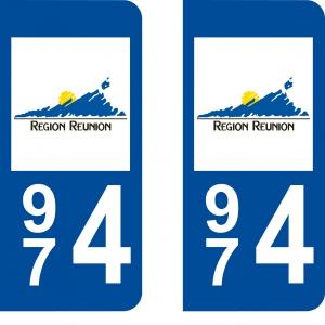 Achat stickers autocollants plaques d'immatriculation Réunion (974) - Logo autocollant 974