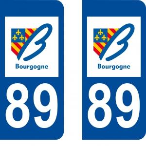 Logo autocollant plaque d'immatriculation 89