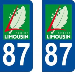 Achat stickers autocollants plaques d'immatriculation Haute Vienne (87) - Logo autocollant 87