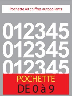 Chiffres autocollants de couleur blanc - top budget - image 0