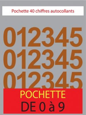 Chiffres autocollants couleur marron noisette - image 0
