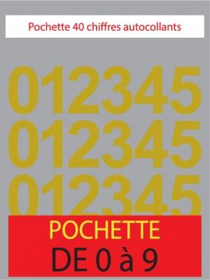 Chiffres autocollants couleur or métal - image 0
