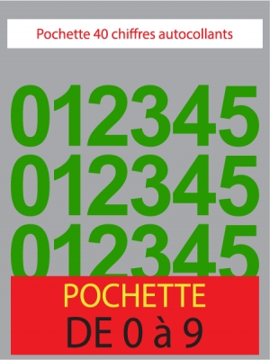 Chiffres autocollants couleur vert clair