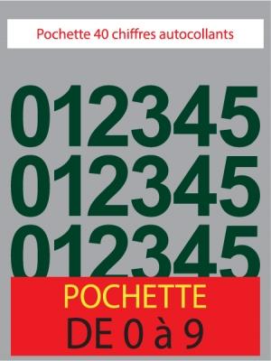 Chiffres autocollants couleur vert foncé - image 0