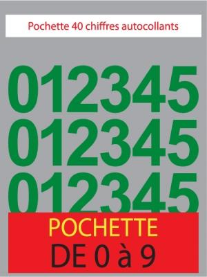 Chiffres autocollants de couleur vert