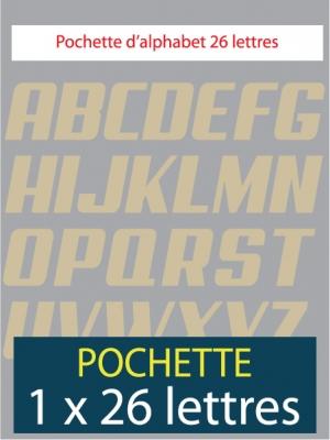 26 lettres autocollantes de couleur beige