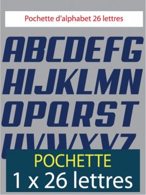 26 lettres autocollantes de couleur bleu foncé