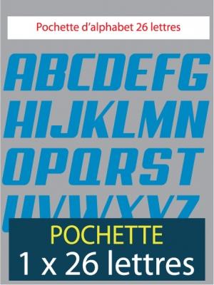 26 lettres autocollantes de couleur bleu clair