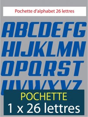 26 lettres autocollantes de couleur bleu