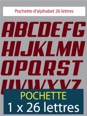 26 lettres autocollantes de couleur bordeaux
