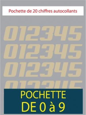 20 Chiffres autocollants couleur beige