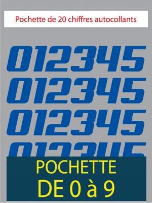 20 Chiffres autocollants couleur bleu