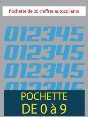 20 Chiffres autocollants couleur bleu ciel