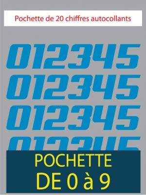 20 Chiffres autocollants couleur bleu clair