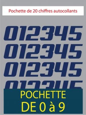 20 Chiffres autocollants couleur bleu foncé