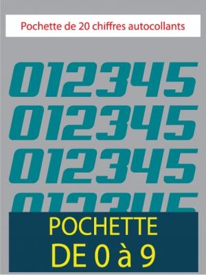 20 Chiffres autocollants couleur bleu turquoise