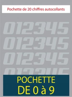 20 Chiffres autocollants couleur gris argent