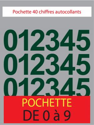 Chiffres autocollants couleur vert foncé