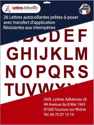 lettres autocollantes couleur bordeaux - image 0