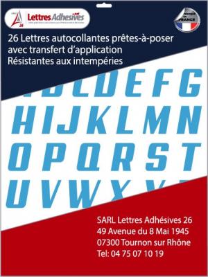 lettres adhésives couleur bleu ciel
