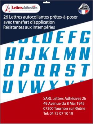 lettres adhésives couleur bleu clair