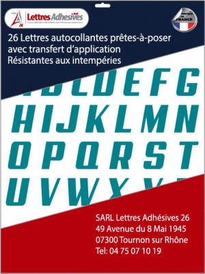 lettres adhésives couleur bleu turquoise