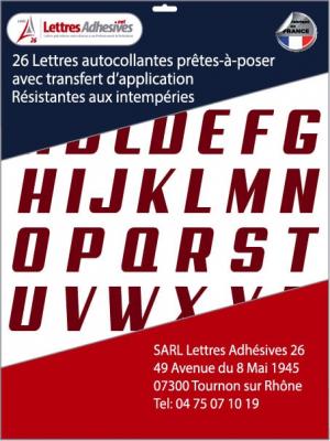 lettres adhésives couleur bordeaux