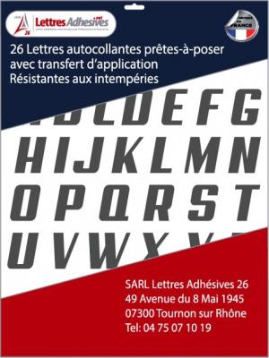 lettres adhésives couleur gris foncé