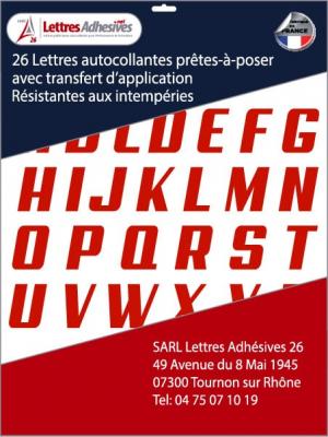 lettres adhésives couleur rouge