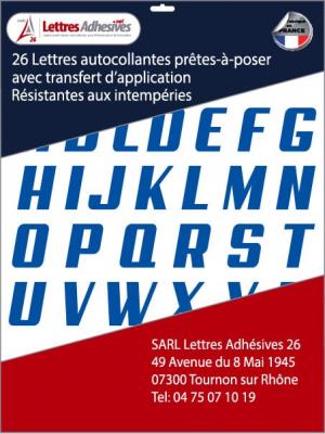 lettres adhésives couleur bleu