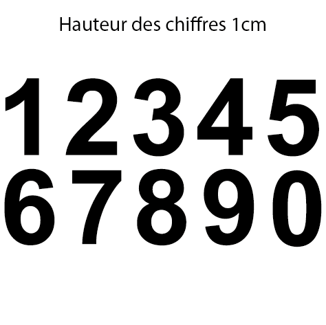 10 chiffres adhésifs 1 cm le chiffre