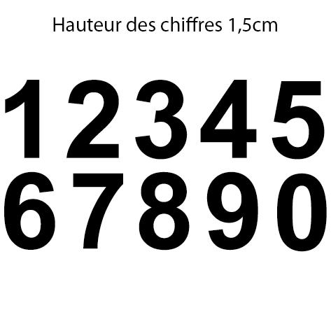 10 chiffres adhésifs 1.5 cm le chiffre