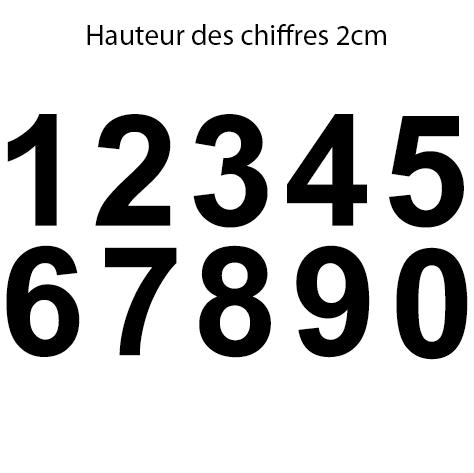 10 chiffres hauteur 2 cm le chiffre