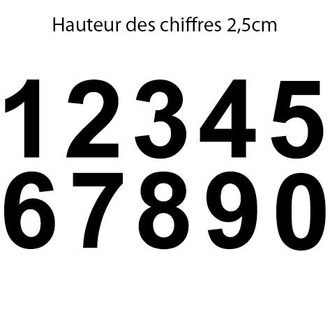 10 chiffres hauteur 2.5 cm le chiffre