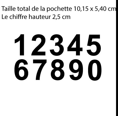 Achat 10 chiffres hauteur 2.5 cm le chiffre. 3,75 EUR