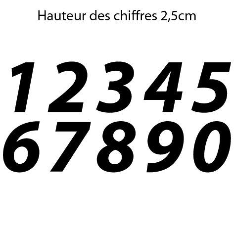 Chiffres adhésifs italiques hauteur 2,5 cm