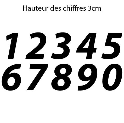 Chiffres adhésifs italiques hauteur 3 cm