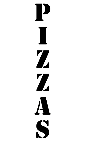 Pizzas police stencil