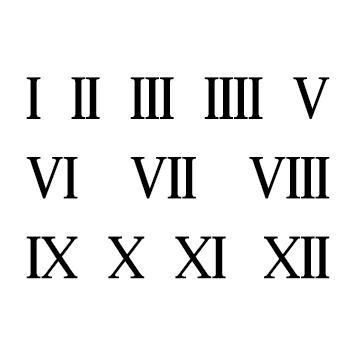 Planche 12 chiffres romains adhésifs H 1 cm