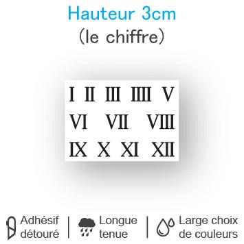 Planche 12 chiffres romains adhésifs H 3 cm