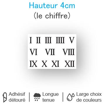 Planche 12 chiffres romains adhésifs H 4 cm