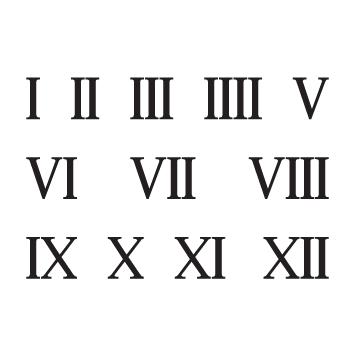 Planche 12 chiffres romains adhésifs H 6 cm