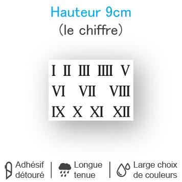 Planche 12 chiffres romains adhésifs H 9 cm