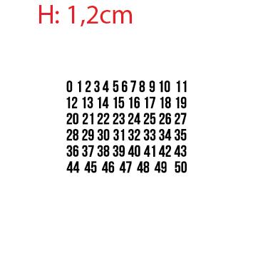 Planche 50 numéros adhésifs 1,2cm